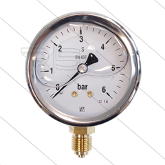 "Manometer 0-6 Bar - 1/4"" bu - onderaansluiting - Ø63mm"