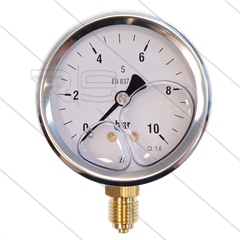 "Manometer 0-10 Bar - 1/4"" bu - onderaansluiting - Ø63mm"