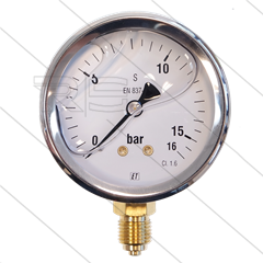 "Manometer 0-16 Bar - 1/4"" bu - onderaansluiting - Ø63mm"