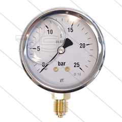 "Manometer 0-25 Bar - 1/4"" bu - onderaansluiting - Ø63mm"