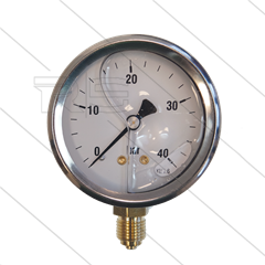 "Manometer 0-40 Bar - 1/4"" bu - onderaansluiting - Ø63mm"