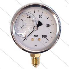 "Manometer 0-100 Bar - 1/4"" bu - onderaansluiting - Ø63mm"