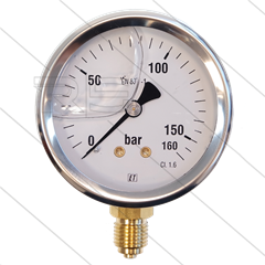 "Manometer 0-160 Bar - 1/4"" bu - onderaansluiting - Ø63mm"