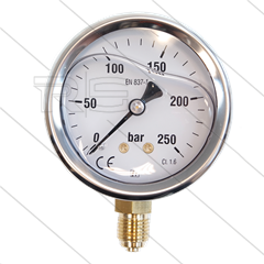 "Manometer 0-250 Bar - 1/4"" bu - onderaansluiting - Ø63mm"