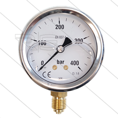 "Manometer 0-400 Bar - 1/4"" bu - onderaansluiting - Ø63mm"