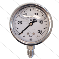 "Manometer 0-1000 Bar - 1/4"" bu - onderaansluiting - Ø63mm"